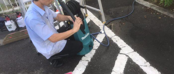 多久市M歯科医院定期外壁清掃
