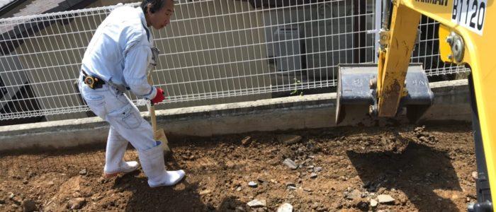 大牟田市生コン打設前床掘・整地・ワイヤメッシュ設置工事
