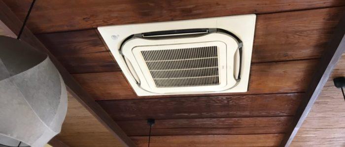 柳川市老舗うなぎ料理屋さんM沖端店天井埋込業務用エアコン洗浄