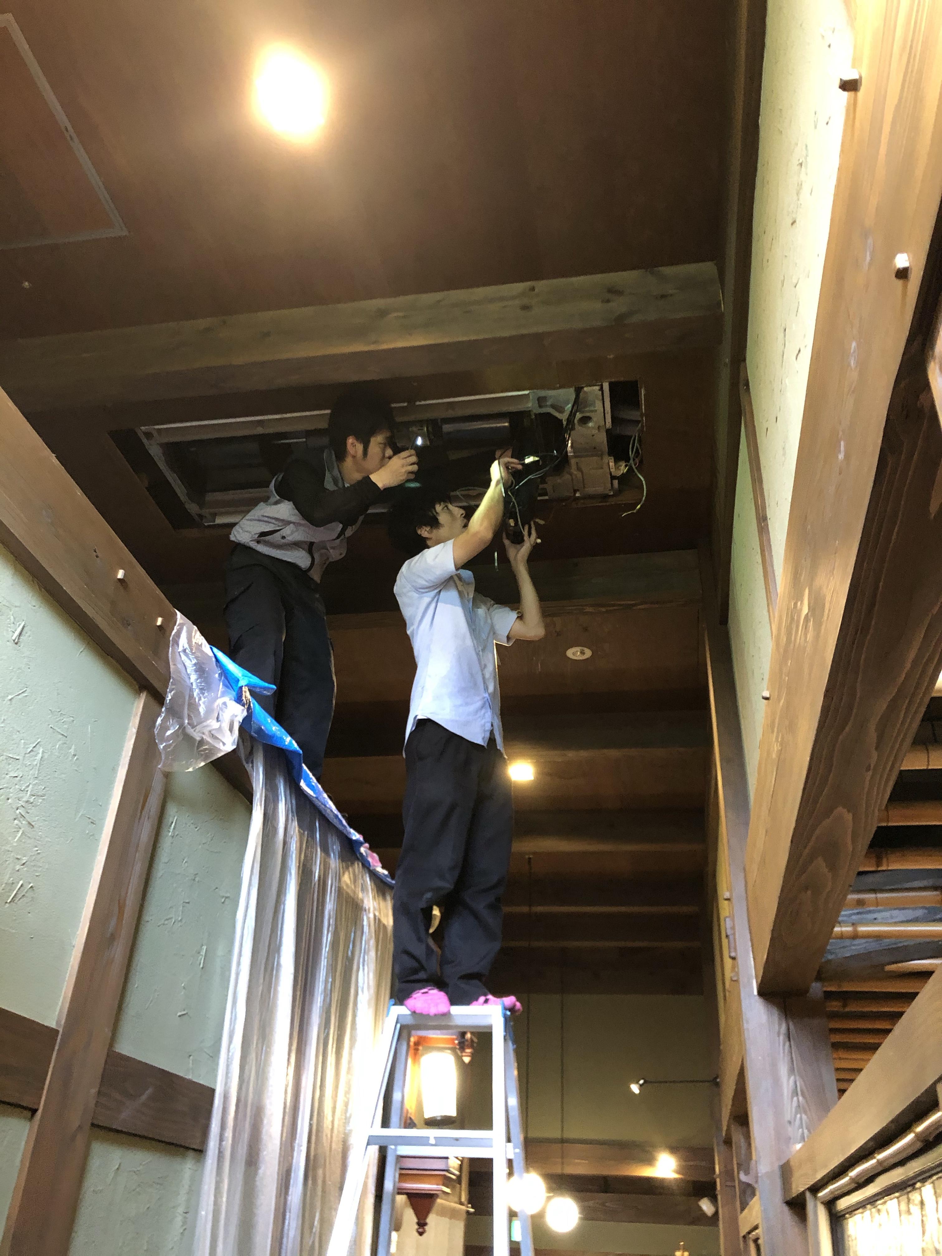 佐賀市大和町高さ5メートル天井埋め込みエアコン清掃