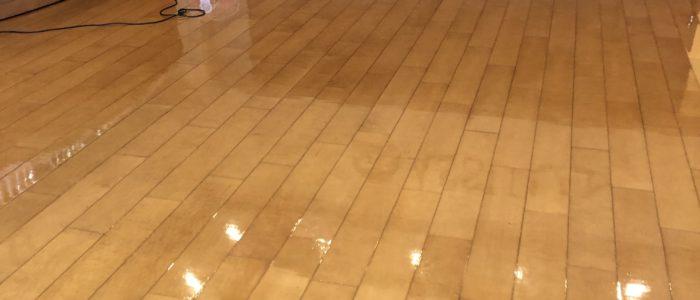 企業受付床洗浄Wax作業
